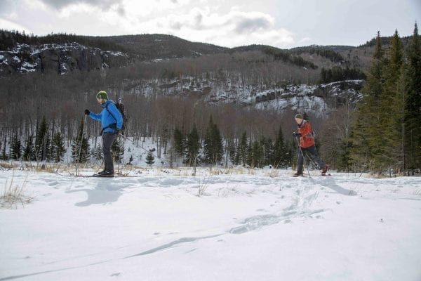 BETA executive director Josh Wilson skis Old Mountain Road with former Explorer editor Phil Brown in March 2018. Photo by Mike Lynch