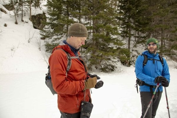 Former explorer editor Phil Brown interviews BETA executive director Josh Wilson on Old Mountain Road in March 2018. Photo by Mike Lynch
