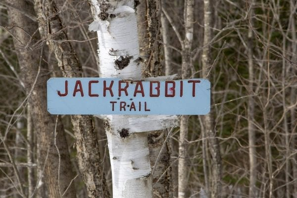 Sign for the Jackrabbit Trail in Keene. Photo by Mike Lynch