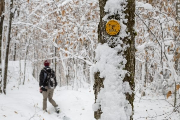 Snow blanketed the trail to Sawyer Mountain near Indian Lake in late November. Photo by Mike Lynch