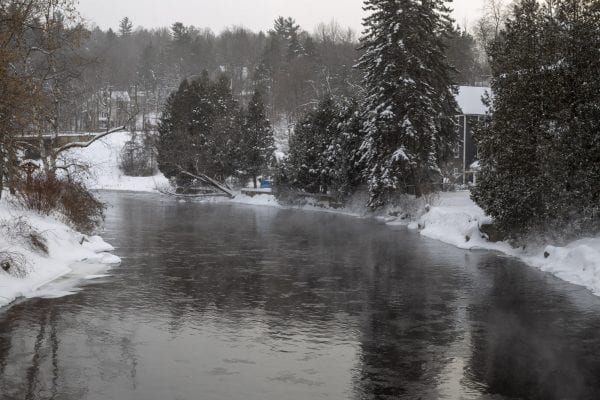 The Saranac River in Saranac Lake. Photo by Mike Lynch