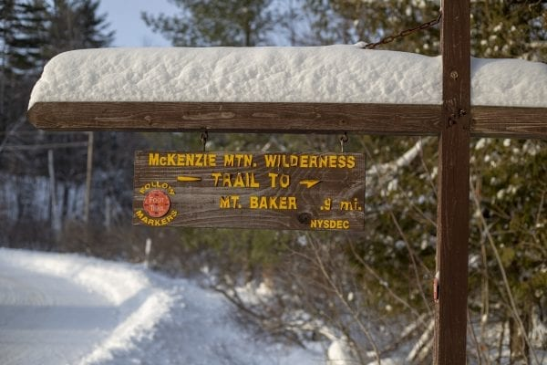 Baker Mountain trailhead in Saranac Lake Monday afternoon. Photo by Mike Lynch