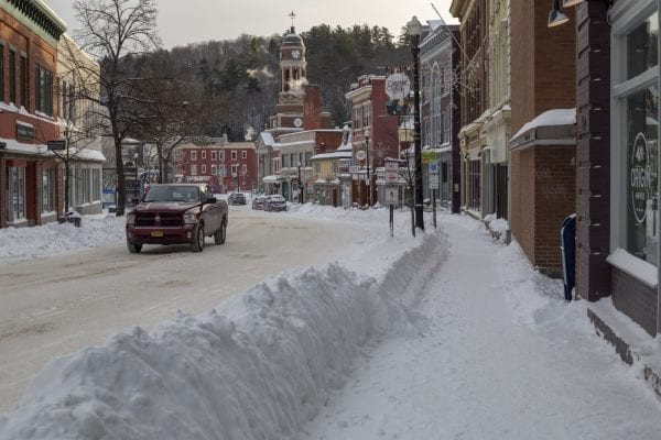 Downtown Saranac Lake Monday afternoon. Photo by Mike Lynch