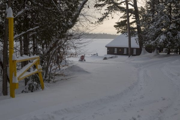 The Ampersand Bay state boat launch on Lower Saranac Lake was snowed-in Monday.