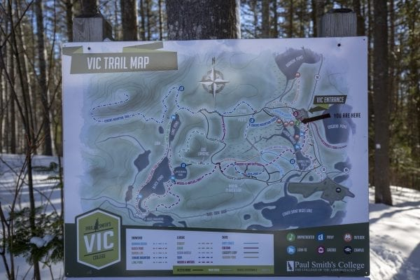 Paul Smith's College VIC trail map. Photo by Mike Lynch