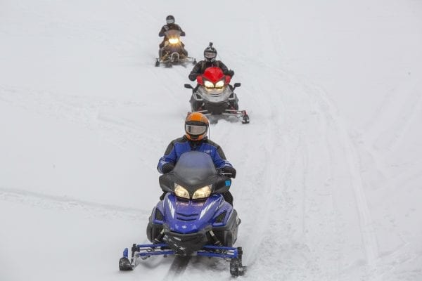 Snowmobiles on Long Lake in Hamilton County. Photo by Mike Lynch