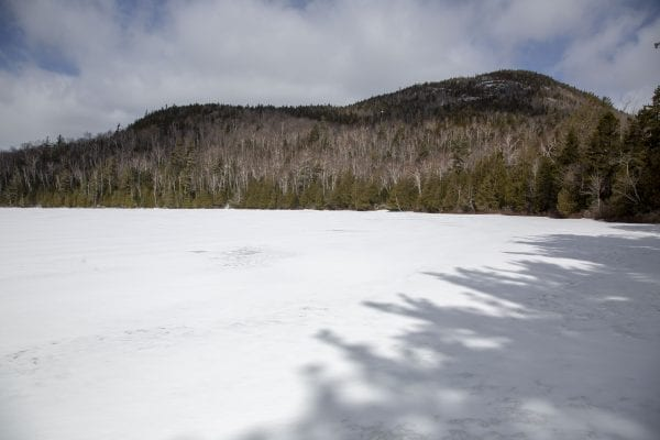Heart Lake in the High Peaks was still frozen on April 1. Photo by Mike Lynch