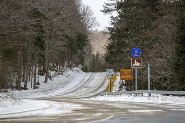 River Road near Lake Placid on April 1. Photo by Mike Lynch