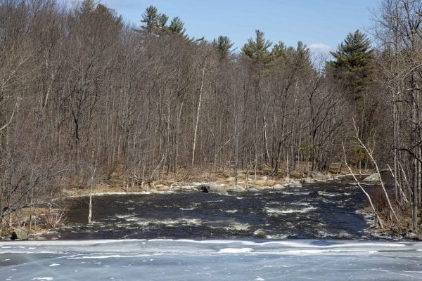 Rapids below a frozen section of the West Branch of the Ausable River in Wilmington. Photo by Mike Lynch