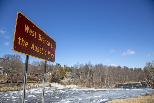 A frozen section of the West Branch of the Ausable River above the dam in Wilmington. Photo by Mike Lynch