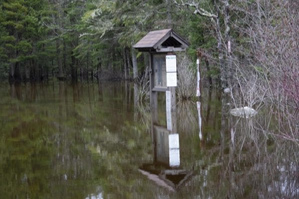 The Crusher boat launch on the Raquette River was under water on April 25. Photo by Mike Lynch