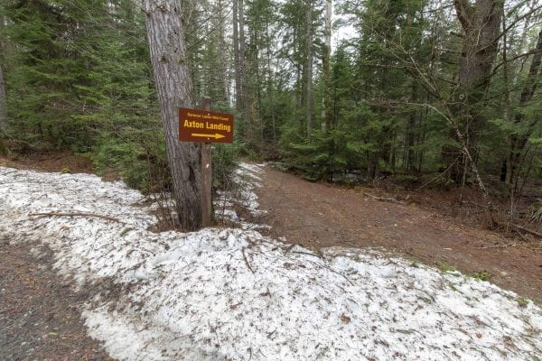 There was still snow along Coreys Road on April 25. Photo by Mike Lynch