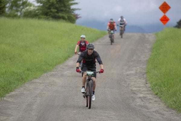 Cyclists compete in the 100-kilometer Wilmington Whiteface mountain bike race that takes place every June. Photo by Mike Lynch