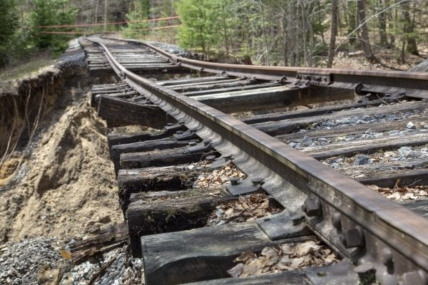 A large section of this railroad bed near Hoel Pond appears to have been washed out by a stream. Photo by Mike Lynch