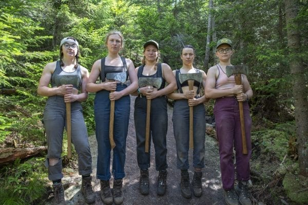 ADK professional trail crew members Lyza Berg, Caitlin Kelly, Anastasia Rodak, Adeline Clayton, and Charlotte Staats. Photo by Mike Lynch