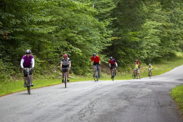 Cycle Adirondacks participants ride through a forested area in the Champlain Valley. The cyclists did a weeklong tour in the eastern Adirondacks. Photo by Mike Lynch