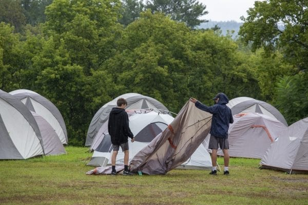 Cycle Adirondacks participants stay in tent cities, like this one at the Essex County Fairgrounds in Westport. Photo by Mike Lynch