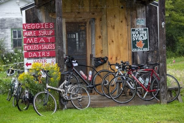 Cyclists left their bikes at this farm store at Reber Rock Farm. Photo by Mike Lynch