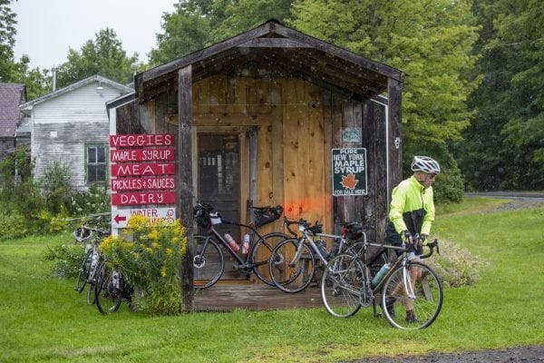 A Cycle Adirondacks participant at Reber Rock Farm, where there was a scheduled lunch break during their trip in August. Photo by Mike Lynch