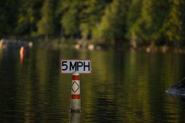 The river from Second Pond to Lower Saranac Lake has a speed limit of 5 miles per hour. Photo by Mike Lynch