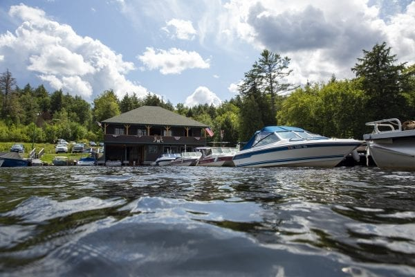 A view of the Saranac Lake Marina from Lower Saranac Lake. The marina's expansion has sparked a debate about boat traffic on the lake. Photo by Mike Lynch