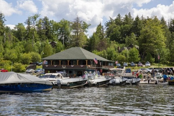 A view of the Saranac Lake Marina from Lower Saranac Lake. Photo by Mike Lynch