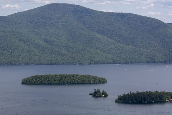 Dome Island on Lake George can be seen from Pinnacle Mountain. Photo by Mike Lynch