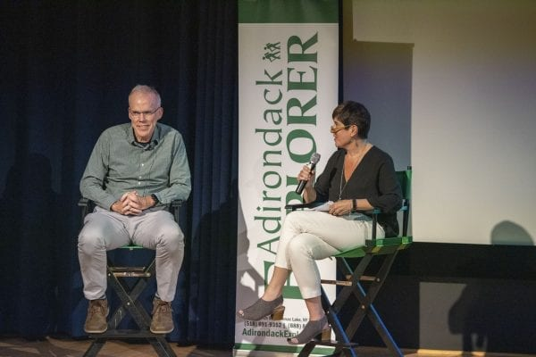 Explorer publisher Tracy Ormsbee interviews Bill McKibben Wednesday night at The Wild Center. Photo by Mike Lynch