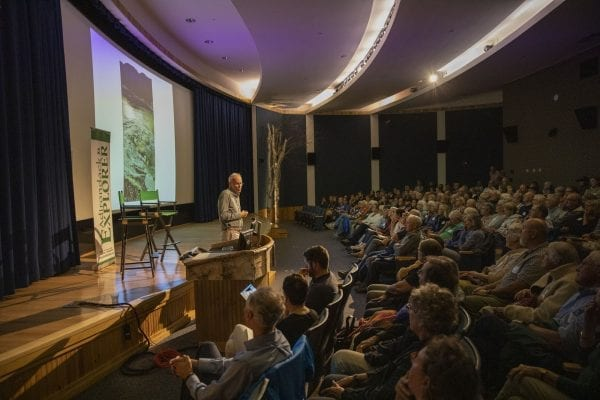 Bill McKibben talks to a packed house at The Wild Center Wednesday night. Photo by Mike Lynch