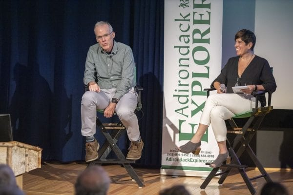 Explorer publisher Tracy Ormsbee interviews Bill McKibben Wednesday, August 28 at The Wild Center. Photo by Mike Lynch