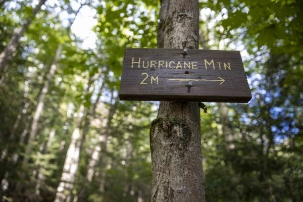 A sign on the trail from Crows Clearing to Hurricane Mountain. Photo by Mike Lynch