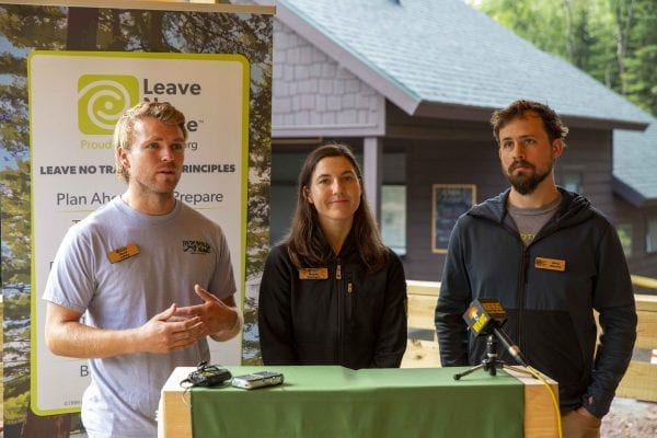 Representatives from the Leave No Trace Center for Outdoor Ethics, based in Boulder, Colorado, talk at the High Peaks Information Center in August. Photo by Mike Lynch