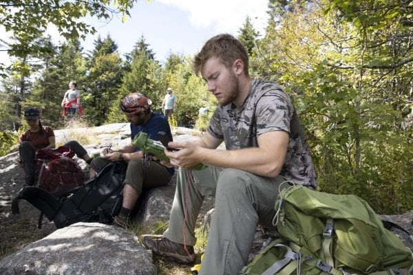 Scenes from Long Pond Mountain in the St. Regis Canoe Area in early September, where North Country Community College students in the Wilderness Recreation Leadership program where in the midst of a monthlong backcountry trip. Photo by Mike Lynch