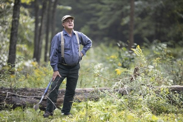 Bruce Cushing, shown here in September, is managing his woodlot on the eastern side of Lake George for commercial timber and bird habitat. Photo by Mike Lynch