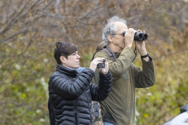 Explorer Publisher Tracy Ormsbee stands next to Explorer board member and avid birder Larry Master. Photo by Mike Lynch