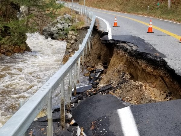 Roads on the west side of Lake George in and around the town of Hague were damaged during the Halloween storm. Photo by Steve Ramant