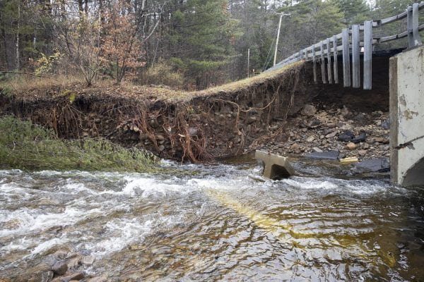 This bridge near the corner of Hadley Hill Road and North Shore Road in Hadley was washed out by flooding on Paul Creek during the Halloween storm. Photo by Mike Lynch