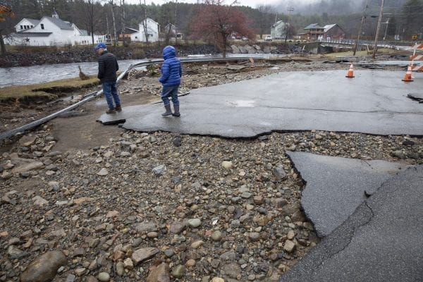 Flooding during the Halloween storm damaged roads and bridges, including Algonquin Drive in the town of Wells. Photo by Mike Lynch