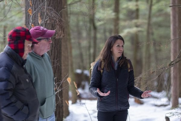 Julie Fogden, an invasive species management steward with The Nature Conservancy, talks about forest pests at the Noblewood Park in Willsboro. Photo by Mike Lynch