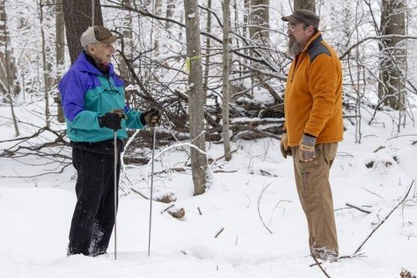 Jim Frenette and John Gillis talk at the James C. Frenette Sr. Recreational Trails in Tupper Lake.
