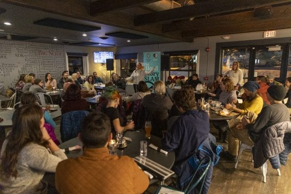Adirondack Center for Writing hosted a story slam at the Big Slide Brewery in Lake Placid in November. Photo by Mike Lynch