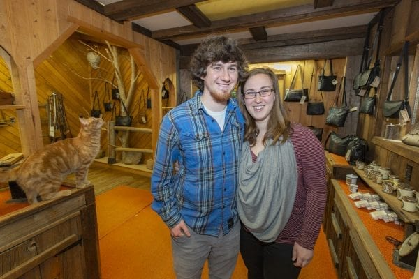 Broyce and Allison Guerette, both 23, own the Leather Artisan in Childwold. An ANCA study suggests the Adirondacks need more young buyers like them. This February 2019 photo was taken by Mike Lynch