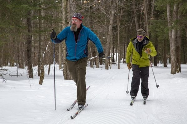 John Gillis and Eric Lanthier enjoy a ski on the James C. Frenette, Sr., recreational trails in Tupper Lake in February 2019. The pair have helped develop the grassroots trail system in recent years. Photo by Mike Lynch