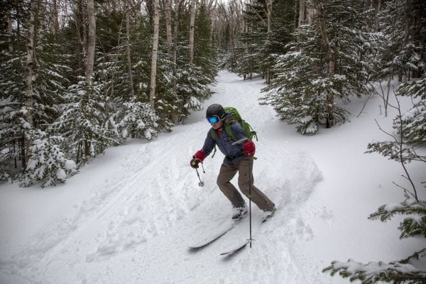 Adirondack Powder Skier Association President Ron Konowitz skies the Wright Peak Ski Trail in March 2020, a trail the association hopes the state will upgrade in the future. Photo by Mike Lynch