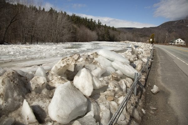 An ice jam formed in March in Upper Jay on the East Branch of the Ausable River, causing flooding. Photo by Mike Lynch