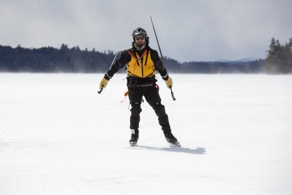 Dan Spada skates on Lower Saranac Lake in March 2020. Spada is part of a group of of Nordic skaters who explore wild ice in the Adirondacks.  Photo by Mike Lynch