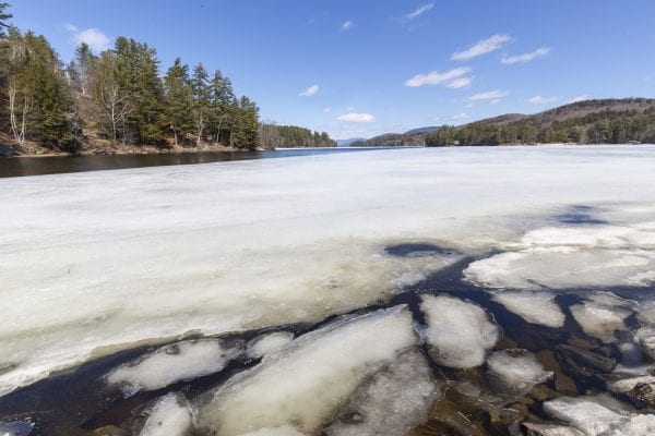 Ice out begins on Long Lake in early April. Photo by Mike Lynch