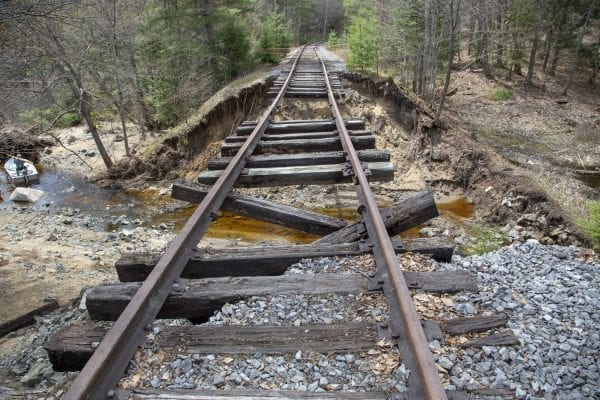 The rail corridor that runs alongside Hoel Pond in the northern Adirondacks washed out sometime this spring. This photo was taken in May. Photo by Mike Lynch