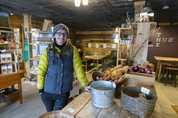 Jori Wekin is the founder and director of the Hub on the Hill in Essex, which was featured in the January 2020 issue of the Explorer in a story about Champlain Valley farms. During the pandemic, Hub on the Hill has worked with ADK Action to provide farm food to people in need. Photo by Mike Lynch