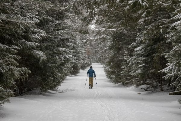 Zach Lawrence skies South Meadow Road in the High Peaks Wilderness in December. Photo by Mike Lynch